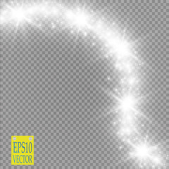 Lights on transparent background. Vector white glitter wave abstract illustration. White star dust trail sparkling particles isolated.