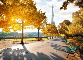 Sunny morning in Paris in autumn Fototapete