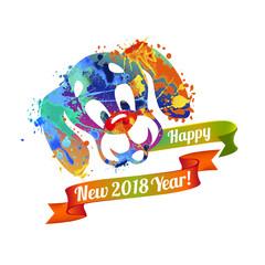 Happy NEW 2018 Year card. Dog of splash paint