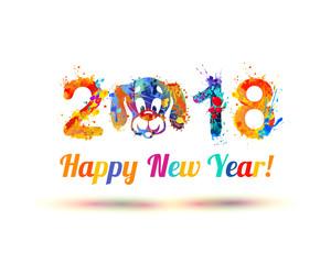 Happy New Year 2018. Dog muzzle