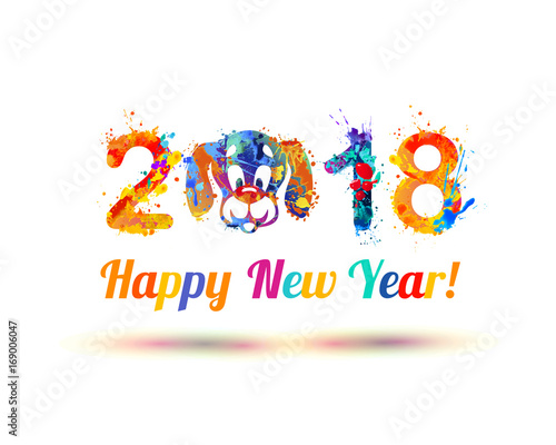 Happy New Year 2018. Dog muzzle\