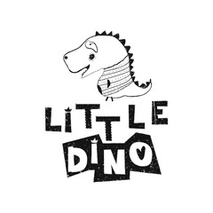 Little dino. Hand drawn style typography poster. Greeting card, print art or home decoration in Scandinavian style. Scandinavian design black and white. Vector