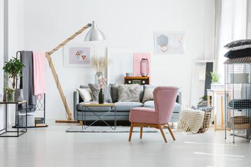 Grey sofa with decorative pillows
