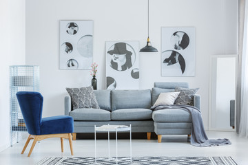 Designer's living room with posters