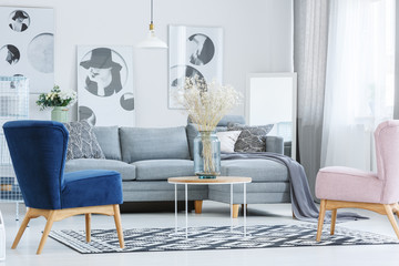 Stylish living room with armchairs