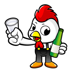 Cartoon Rooster Character holding a distilled spirits toast. Vector illustration isolated on white background.