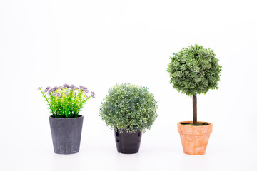Set small artificial tree in a pot isolated in white background.