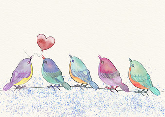 Birds and heart. Watercolor illustration.