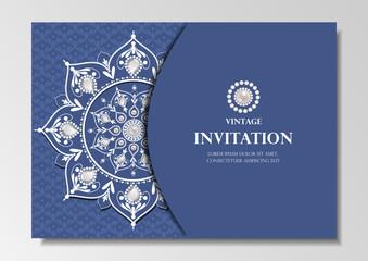 invitation card vintage design with diamond mandala pattern on blue background vector
