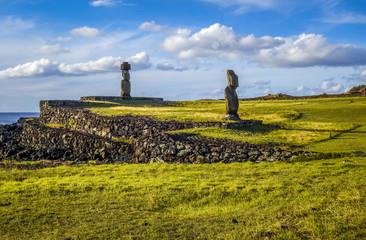 Moais statues, ahu vai ure, easter island