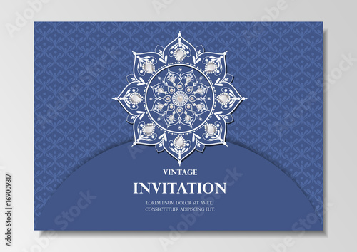 Invitation card vintage design with diamond mandala pattern on blue invitation card vintage design with diamond mandala pattern on blue background vector stopboris Gallery