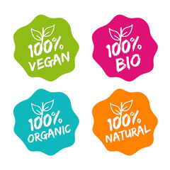 Wall Mural - Flat label collection of 100% organic product and premium quality natural food. Eps10.