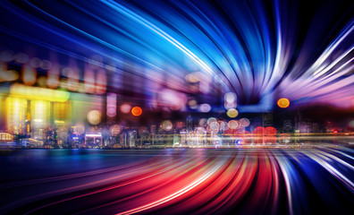 Abstract Motion light tails and City background