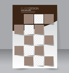 Brochure template. Business flyer. Annual report cover. Editable A4 poster for design education, presentation, website, magazine page.  Brown color.