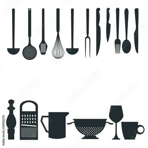 kitchen utensils silhouette vector free. White Background With Monochrome Silhouette Different Utensils Of Kitchen Border Style Vector Illustration Free L