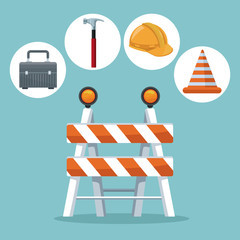 color background with icons in circular frame elements contruction and closeup in center of traffic barrier vector illustration