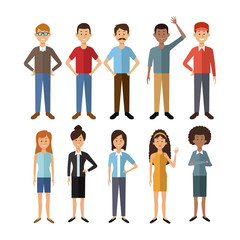 white background with full body group people of the world diversity vector illustration