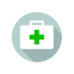 First Aid Kit Round Flat Medical Icon Illustration