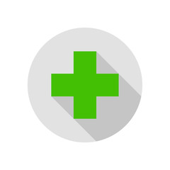 Cross Sign Round Flat Medical Icon Illustration