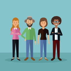 color background with full body people standing with casual wear clothes vector illustration