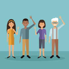 color background with full body people standing of differents ages vector illustration