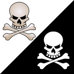 Skull and crossed bones vector logo illustration