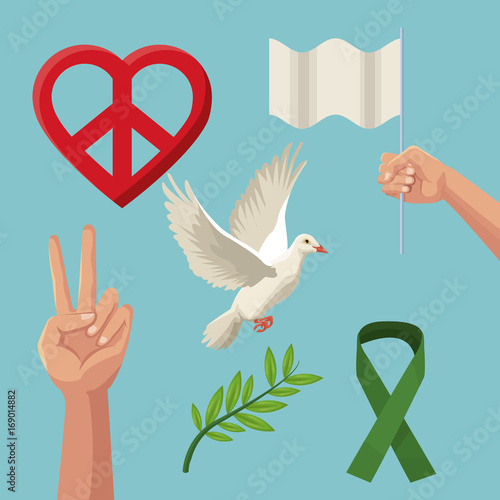 Color Poster Icons Of Peace And Love Symbols Vector Illustration