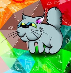 Cat and nature. Cute cartoon cat, on an abstract background.