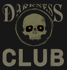 Darkness сlub. Skull with fangs and glowing eyes.