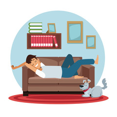 white background with circular colorful scene man sleep in sofa with dog pet vector illustration