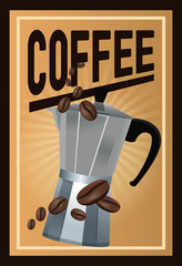 color poster coffee with linear glow and metallic jar of coffee with handle and beans vector illustration