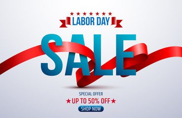 Happy Labor Day.Labor Day Sale promotion advertising banner template.American labor day wallpaper.Vector illustration.