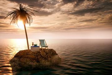 Einsame Insel im Meer mit Liegestuhl Wall mural