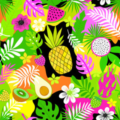 Multicolored tropical pattern with fruits, flowers and leaves.