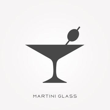 Silhouette icon martini glass