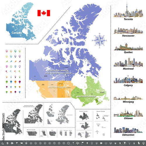 Canadian provinces and territories map colored by regions. Map, flag on