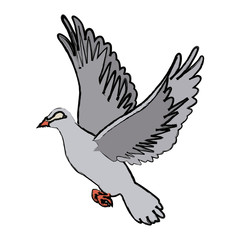 flying white dove on white background as symbol of peace vector illustration