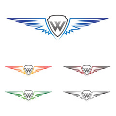w wing, wing, logo, design, vector
