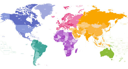 Staande foto Wereldkaart world map colored by continents