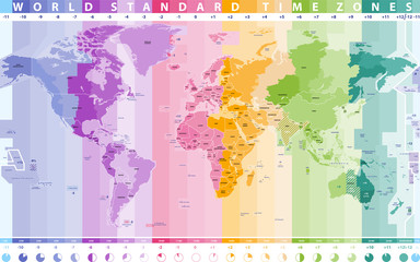 Poster de jardin Carte du monde world standard time zones vector map