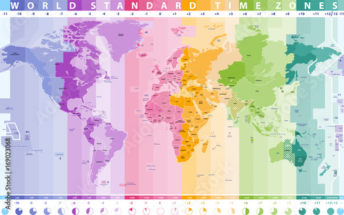 world standard time zones vector map\