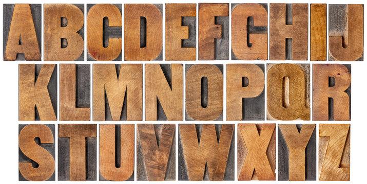vintage alphabet set in wood type