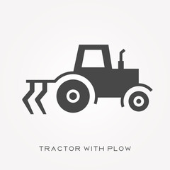 Silhouette icon tractor with plow