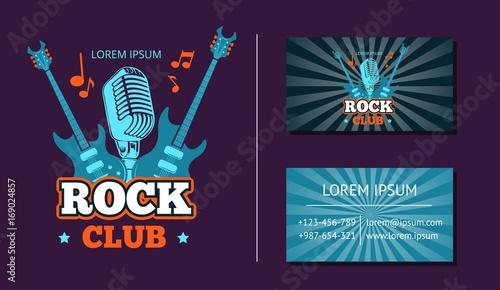 Vector Vintage Rock Music Club Logo Emblem Badge And Business Card With Retro