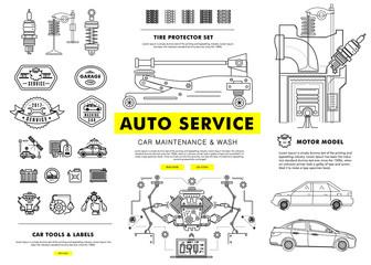 Auto service contour line composition.