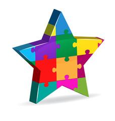 Puzzle 3d star shape innovation company logo vector