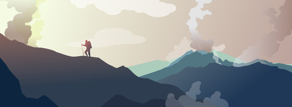 Traveler on mountains against sunset. Rocks. Climbing. Adventure.