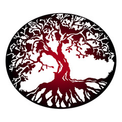 Dark sign - the tree of life is a symbol of family and love