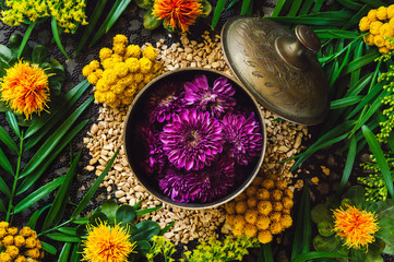 Brass Container with Purple Chrysanthemum Flowers
