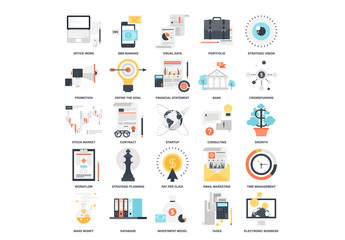 25 Colorful Business and Finance Icons 1